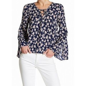 Lush XL Blue Floral Bell Sleeve Top Lace Up